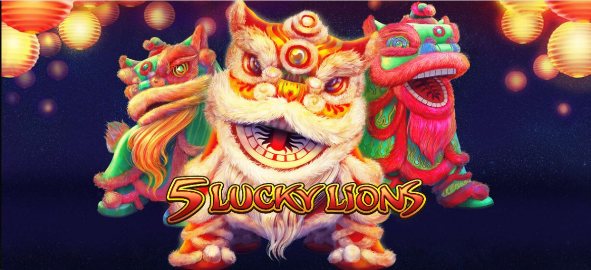 A Chinese Slot Theme With 5 Lucky Lions Graphics.